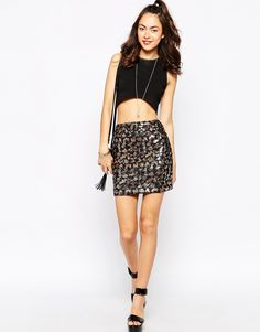 Motel+Kimmy+Tinsel+Bodycon+Skirt+in+Black+and+Gold