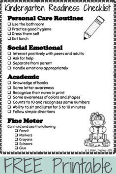 Kindergarten Readiness Checklist FREE Printable