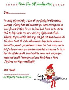 Elf Goodbye letter holidays Pinterest Elf goodbye letter