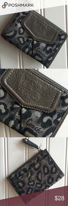 ✨Coach leopard coin wallet Leopard sparkly print Coach wallet, that needs a new home. Perfect size for your key chain or a cross body bag. Can fit credit cards and money. There is a slot on the back as well. Coach Bags Wallets