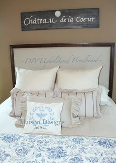 A Tutorial For This DIY Upholstered Headboard. Linen Fabric With  Restoration Wood Trim By Maison