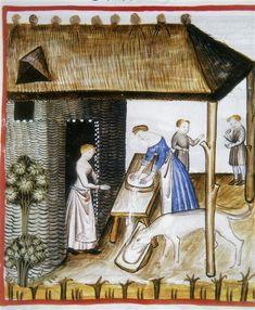 Making cheese with dog. (fol. 60r), Tacuinum Sanitatis (ÖNB Codex Vindobonensis, series nova 2644), c. 1370-1400
