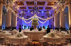 Beautiful wedding banquet at 8 Northumberland Avenue #white #blue #light #romantic #wedding #London #restaurant
