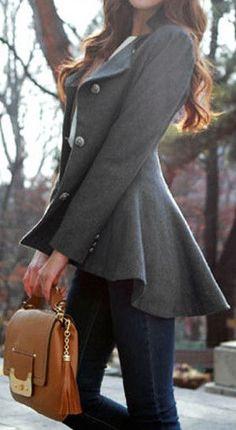 Slim grey blazer with hi-lo peplum hem