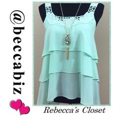 Darling tiered floral crochet tank in mint   Mint color tiered tank with crochet straps and floral embroidered detailing.   Non-sheer. Unlined. Lightweight. 100% rayon.  Please see size chart.    10% off bundles of 2 or more.  No Trades. Necklace is also for sale in my closet and great to bundle.  Blouse was photographed with other beautiful necklaces in my closet also.  Please look for them  Boutique Tops Tank Tops
