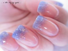"""Essie sugar daddy, blue glitter gradient tips w Sinful Colors """"hottie"""", topped with Essie pink glove service and Seche Vite"""