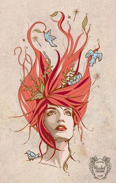 FLORENCE WELCH Portrait Poster Print - Florence & The Machine - Bird Song - Folk Art - Autumn - Woodland Illustration - Orange - Red