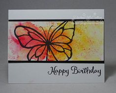 Want fast, fun colour on your cards? Brusho Crystal Colours create watercolor washes like this card with the Beautiful Day stamp set from Stampin' Up! Bday Cards, Birthday Cards For Her, Birthday Gifts, Penny Black, Watercolor Cards, Watercolour, Butterfly Cards, Paper Cards, Cute Cards