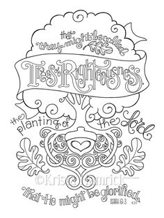 Trees of Righteousness  coloring page  8.5X11  Bible journaling tip-in  6X8