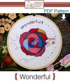 Wonderful,Rose,Flower,hand embroidery patterns pdf,digital download,stitching design,hermit crabs