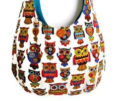 "Sling purse owl hobo bag slouch shoulder summer retro bird market tote  ""Lenore"" - LoveItSoMuch.com"