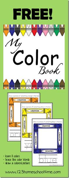 This FREE My Color Book is a great way for toddlers, preschoolers, and kindergarten children to practice their colors. My Color Book fo Kindergarten Colors, Preschool Colors, Teaching Colors, Preschool Kindergarten, Preschool Learning, Learning Activities, Preschool Curriculum, Free Preschool, Preschool Lessons