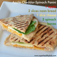 Break out your panini press for this delicious sandwich! Apple, cheddar, spinach panini. #charlottepediatricclinic