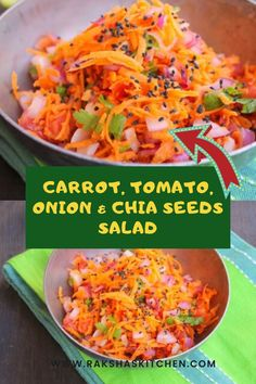 Best grated carrot salad recipe is this one in which grated carrot, tomato, onion and chia seeds are mixed. One of the best chia seed salad recipe with vegetables. Grated Carrot Salad, Carrot Salad Recipes, Chicken Salad Recipes, Onion Salad, Spinach Salad, Ham Salad, Cabbage Salad, Weight Loss Salad Recipe, Cooking Recipes