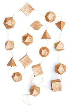 Glittered Geometry Garland - DIY with Cardboard, Glitter, and Baker's Twine Do It Yourself Inspiration, Diy Birthday Decorations, Hanging Decorations, Diy Hanging, Birthday Ideas, Christmas Decorations, Paper Crafts, Diy Crafts, Idee Diy