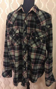 Vintage Mens Miller Western Wear Plaid Rockabilly Shirt Size 17 1/2 - 35 (XL) #MillerWesternWear #Western