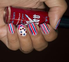 #4thofJuly2013 #nailart @lacolorsusa http://www.bellezzabee.com/2013/07/4th-of-july-stripes-for-busy-girls.html #nailbloggers