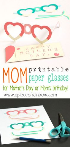 Free Printable MOM Glasses and gift pouches: easy fun paper craft, wear them on Mother's Day or mom's birthday for a happy celebration!