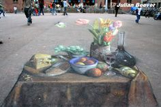 Julian Beever is an English chalk artist who has been creating chalk drawings on pavement since the that create the illusion of three dimensions when viewed from the right location. These trompe-l'oeil drawings are created using a. 3d Street Art, Amazing Street Art, Amazing Art, Chalk Artist, 3d Chalk Art, Art 3d, Illusion Kunst, Illusion Art, Chalk Drawings