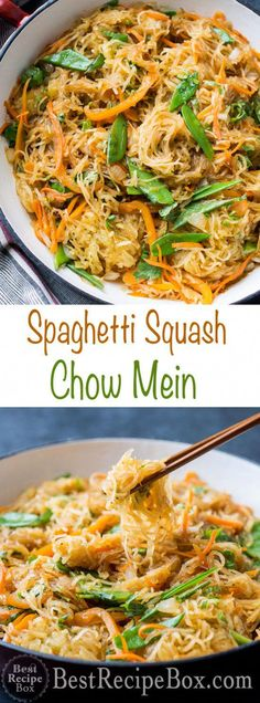 Healthy spaghetti squash chow mein recipe that's quick, easy and low carb. This healthy recipe for spaghetti squash chow mein is a quick and easy Chinese chow mein recipe with spaghetti squash that's Courge Spaghetti, Baked Spaghetti Squash, Vegetarian Spaghetti Squash Recipes, Spagetti Squash Chow Mein, Recipe For Spagetti Squash, Spagetti Squash Spagetti, Broccoli Spaghetti, Spaghetti Squash Shrimp, Spaghetti Squash Casserole
