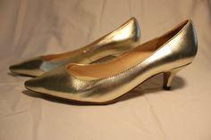 Size 34  Vintage 1980's  Gold Kitten Heel  by GeorgetteEtJosephine, $20.00