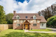 Border Oak - Building an oak frame home helped Michael Walker and wife Katie fulfil a dream of returning to the rural village in which he grew up Cottage House Plans, Cottage Homes, Farm House, Sip House, Brick Cottage, Cottage Windows, Bungalows, Border Oak, Weatherboard House