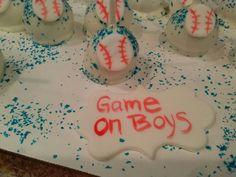 Baseball cake pops vanilla dipped in white chocolate