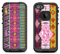 Native Aztec Pattern w/ Pink Monogram Decal Skin for the iPhone 4/4s Lifeproof Case, iPhone 5/5s/5c Lifeproof Fre/Nuud Case by MintedSkins on Etsy
