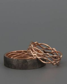14K Rose Gold Black and Bright Celtic Wedding Rings Set