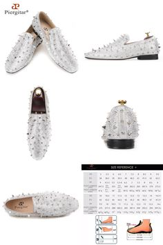 Piergitar Handcrafted Luxury Gold or Silver Spikes and Diamonds Men s  Glitter Leather Loafers Suitable for Banquet and Wedding-in Men s Casual  Shoes from ... dd50b4850c62