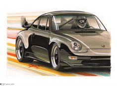 Traditional Illustration of a Porsche 993 Biturbo, made with markers in A3 paper - http://www.facebook.com/adonis.designer