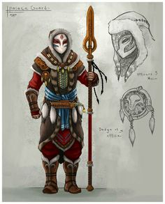 Warrior, native, winter, mask, markings, spear, red, blue, white, brown.