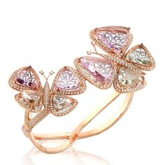 18K pink gold, diamond, pink and green amethys, handcrafted with flat cut semi-precious stone by E Jewellery