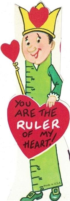 Vintage Valentines Day Card - Skinny Card Ruler of Heart - Unused with Envelope