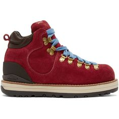 Visvim Red Suede Serra Boots (6,645 CNY) ❤ liked on Polyvore featuring shoes, boots, ankle booties, red, laced booties, red suede boots, lace up booties, suede lace-up boots and red booties