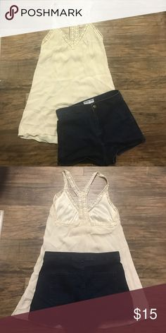 Astr tunic top and American apparel shorts High waisted American apparel (sz large) shorty shorts and ASTR cream colored tunic with crocheted trim. Beautiful outfit ! Can buy separates too just let me know so I can relist American Apparel Shorts Jean Shorts