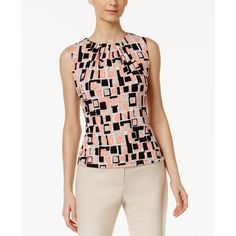 Calvin Klein Printed Pleat-Neck Shell ($25) ❤ liked on Polyvore featuring tops, peach multi, calvin klein, shell tank top, graphic tanks, calvin klein tank top and calvin klein top