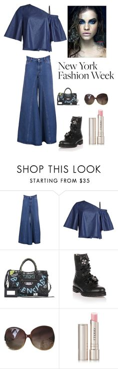 """Denim trend at NYFW"" by kotnourka ❤ liked on Polyvore featuring MM6 Maison Margiela, TIBI, Balenciaga, Jimmy Choo, Miu Miu and By Terry"