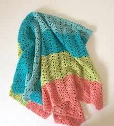 Beach Baby Baby Blanket Crochet PATTERN by Little Monkey's Designs.
