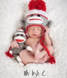 Price: $11.99 Sock Monkey Crochet Knit Hat is SO adorable and perfect for everyday wear and also makes a great photography prop for babies and boys! This sock monkey hat is gray, red and white.   Sock_Monkey_Crochet_Hat_Gray,_Red_and_White_Photography_prop_for_boys_and_babies