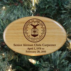 Personalized Engraved U.S. Air Force Memorial Wooden Oval Ornament