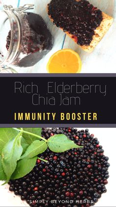 Elderberry together with Chia seeds make for a powerful combination full of antioxidants and anti-inflammatory substances that can help you overcome this demanding flu and cold season. Rich and exquisite Elderberry jam can be spread over your toast or jus Herb Recipes, Jam Recipes, Real Food Recipes, Dinner Recipes, Dessert Recipes, Jelly Recipes, Fruit Recipes, Summer Recipes, Delicious Desserts