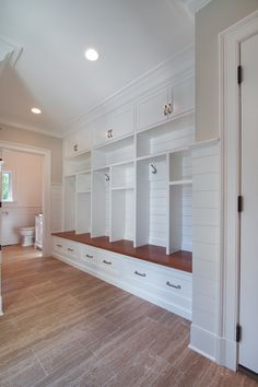 Award Winning Nantucket Style...I like this flow for the back area and possibly do a pocket door for the bathroom