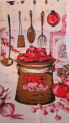 vintage red pink brown tea towel