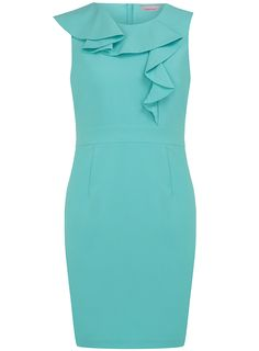 Petite aqua frill shift dress - View All Petite Clothing - Petite - Dorothy Perkins