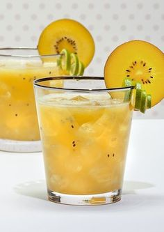 Southern Cross SunGold Kiwifruit Cocktail Named after a constellation, our twist on the Southern Cross Cocktail will have you seeing stars! We'd love to see this drink at a wedding cocktail hour, perhaps served in a mason jar. The gorgeous tones of SunGold Kiwifruit muddled in this classic beverage would complement any party or reception spread. We recommend using a dark or spiced rum and a little brandy...this tempting drink is sure to warm the hearts and the tummies of your guests!
