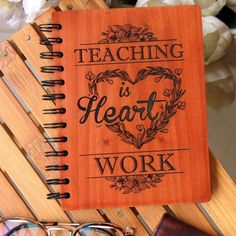 Teaching is Heart Work - Personalized Wooden Notebook - Large / Okoume