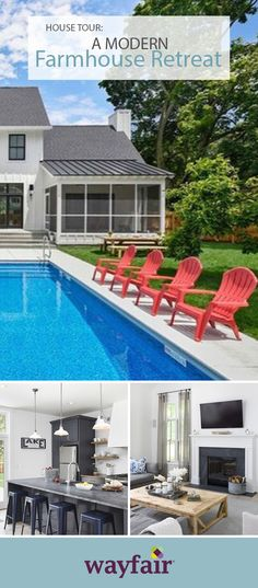 A Modern Farmhouse Retreat: This farmhouse with a modern spin is fit for family time with a living room made for lounging, and a pool perfect for those hot summer days. Get the lakeside look in your own home! #wayfair