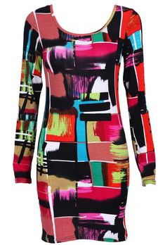#SheInside #SheInside Multi Long Sleeve Geometric Print Bodycon Dress - Sheinside.com
