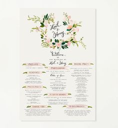Large Wedding Program Sign 24 x 36 by firstsnowfall on Etsy